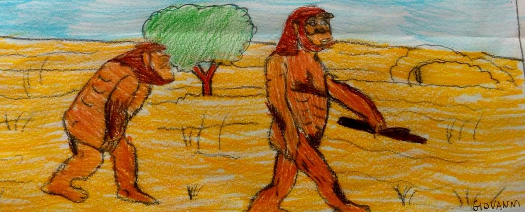 Disegno di un australopiteco