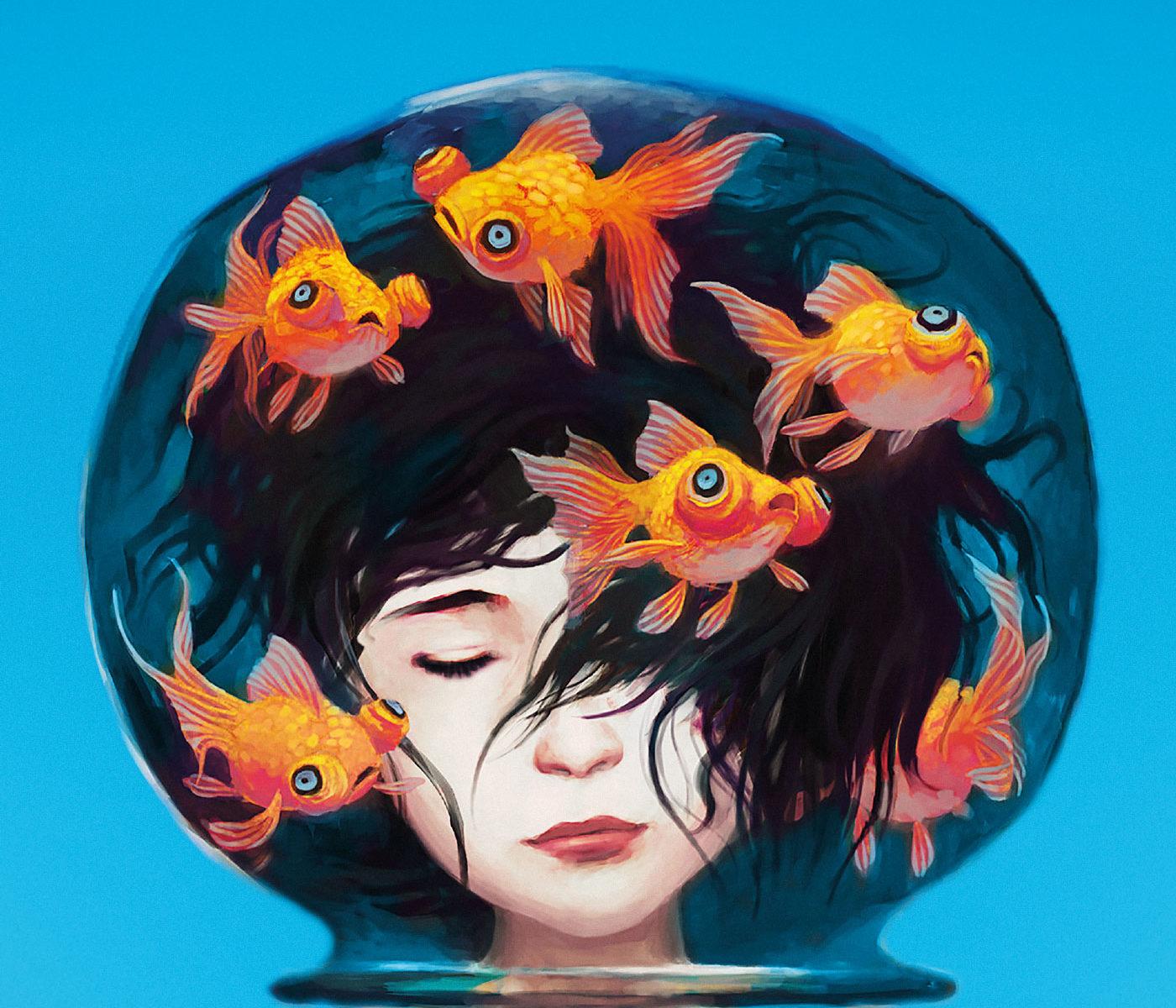 è ritratta un'immagine di una bambina che è appunto melody che ha la testa in una boccia per i pesci senza l'acqua e con i pesci che nuotano nell' aria